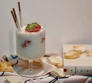 Dessert cup Vertical stripe ice cream cup high beauty juice cups drink cups yogurt pudding cup ice cream glass SN3528
