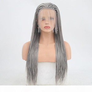 Silver Grey Synthetic Lace Front Braided Wig High Temperature Fiber Heat Resistant Glueless Lacefront Ombre Braided Wigs For White Women
