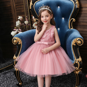 Baby beautiful banquet princess clothes for child 0-6 years old new style beaded flower girl dress for children's party