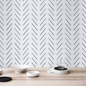 Bacal Modern Delicate Herringbone 3D Wallpaper in Black and White Scandinavian Design, 5d wallpaper mural Peel and Stick
