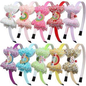 Baby Rainbow Headband Sequin Cake Hair Sticks Cartoon Children Girls Shining Bow PVC Christmas Party Headband Kids Hair Accessories M3119