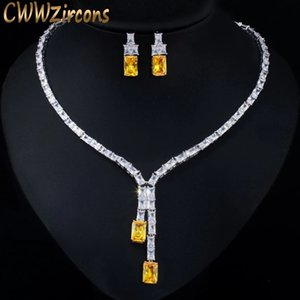 CWWZircons Dazzling African Cubic Zircon Womens Wedding Necklace Jewellery Set Bridal Party Costume Jewelry Accessories T374 Q1123