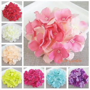 50PCS 15CM 13Colors Artificial Hydrangea Decorative Silk Flower Head For DIY Wedding Wall Arch Background Scenery Decoration Accessory Props