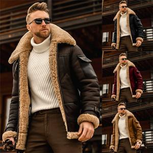 Plus Größe PU-Ledermäntel Herren Lammwolke Warme Winterjacken Revers Hals Lose Reißverschluss Männer Oberbekleidung Kleidung