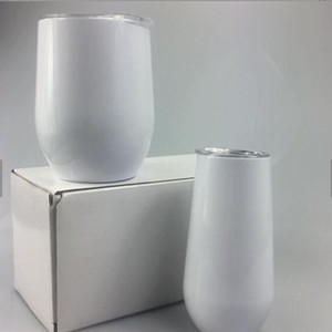 2020 hot sell sublimation 6oz 12oz white blank wine tumbler with lid egg shape water cup stainless steel vacuum coffee mug