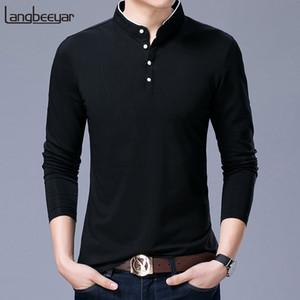 Hot Sell 2020 New Fashion Brand Clothing Polo Shirt Mens Mandarin Collar Long Sleeve Slim Fit Boys Polos Casual Men's Clothing Y1113