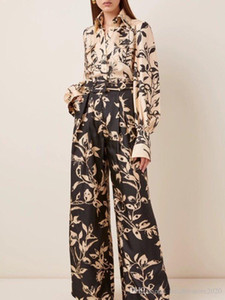 2020 Autumn new fashion ladies silk scarves tied with long sleeves irregular printed shirt + high-waisted wide-leg trouser suit for women