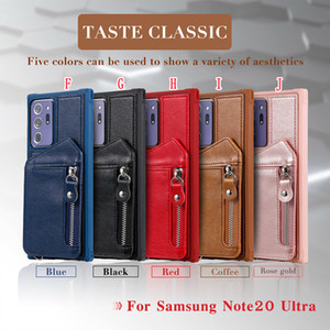 For Iphone 12 Mini PRO MAX Samsung NOTE 20 Ultra S20 FE Zipper Card Slot Leather TPU Case Shockproof Stand Retro Back Phone Cover Fashion
