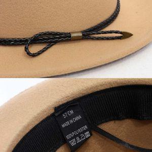 2020 Shade Hot Sale Stylish Retro Top Hat Crushable Wool Felt Hats Wide Brim Belt Cap for Women NOV99