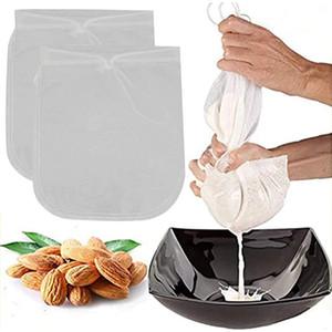 2 unids / lote tuerca bolsa de leche bolsa de malla de malla reutilizable jugo de café de nylon colador de alimentos de nylon 11.8 x 11.8 pulgadas múltiples coladores HA1680