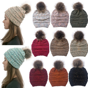 Fashion Women Confetti Knitted Hat Winter Warm Pom Pom Colorful Hat Lady Skull Beanie Solid Female Outdoor Caps db386