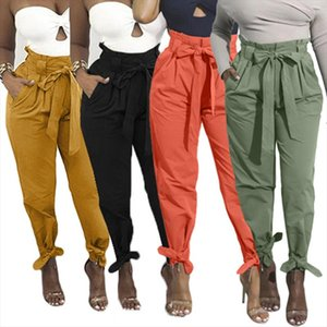 2020 Loose Bow Tie Ruffles Women Pants Casual Solid High Waist Belt Pocket Spring Womens Trousers Female Sashes Pants Bottom