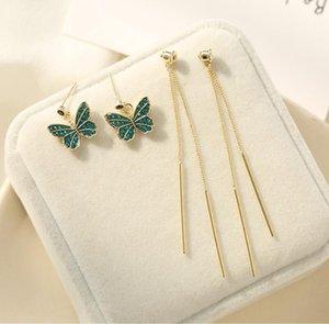 Korean new romantic s925 silver needle butterfly earrings jewelry fashion women 18k gold plated red green gray zircon long tassel earrings