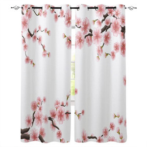 Plum Petal Branch Leaf Flower White Curtains For Kids Living Room Kitchen Curtain Home Bedroom Drapes Window Treatment