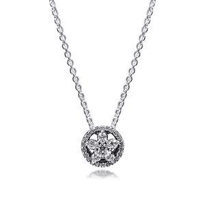 CKK Sparkling Snowflake Necklace Choker Pendant Colgantes Chakra Collares Pingente 925 Sterling Silver Women Jewelry