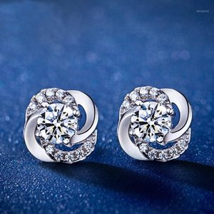 Korean-style Fashion And Personality Earrings Shiny Happiness Rotating Clover Ear Stud Set Ear Rings1