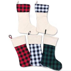 Buffalo Plaid Christmas Stocking 5 estilos Poly Sublimación en blanco Navidad Santa Medias de Navidad Fiesta de Navidad OOA8297