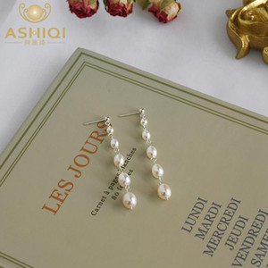 ASHIQI White Freshwater Pearl Long Tassel Earrings for Women with 925 Sterling Silver Handmade Fashion Jewelry 2020 Gift
