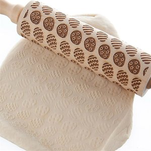 Christmas Rolling Pin Engraved Rolling Pin Wooden Embossed Rolling Pin with Christmas Mold DHB3324