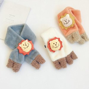 Cute Children's Plush Cartoon Little Lion Scarf 2020 Winter Boys and Girls Baby Cotton Cross Warm Collar Neck Ring Accessories