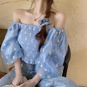 Elegant Puff Sleeve Women Blouse Sexy Off Shoulder Floral Print Short Sleeve Chiffon Tops Female Summer New Streetwear Shirts