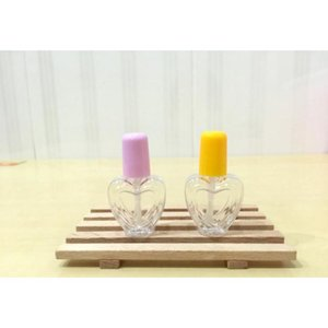 50pcs lot, 6ml petg pvc peach heart empty nail polish bottle refillable nail oil container glass packing bottle with brush cap