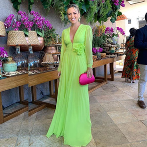Lime Green Bohemian Long Bridesmaid Dress Deep V Neck Long Sleeve Ruched Floor Length Chiffon Maid of Honor Gown