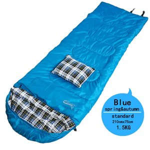 1.5 kg Cotton Sleeping Bag Plaid Flannel Material Warm Envelope Sleeping Bag with Compression Sack for Hiking 2Colors with New