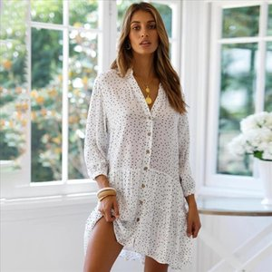Vintage OL Polka Dot Women Mini Dress Spring 2020 V Veck Single Breasted Pleated Vestido Casual Office Lady Loose Dress