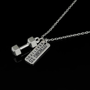 Skyrim Dumbbell Pendant With Strong Is Beautiful Dog Tag Weightlifting Necklace Fitness Jewelry