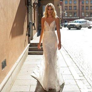 Fabulous Lace Mermaid Wedding Dresses V Neck Appliqued Sequined Bridal Gowns Sweep Train Tulle robe de mariée