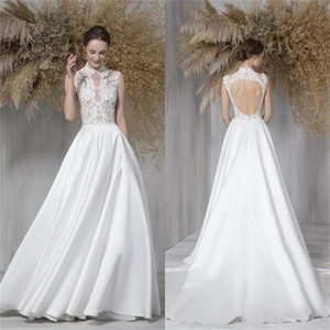 Newest Cheap Wedding Dresses High Neck Appliqued Lace Ruched Satin Bridal Gowns Sweep Train Hollow Back Robes De Mariée Custom Made