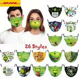 26 Styles Grinch Stole Christmas 3D Imprimé Cosplay Coton Masques Visage de la poussière réutilisable Radique Présacule Présacule Fashion Masque Visage Adulte 2021 Ornements