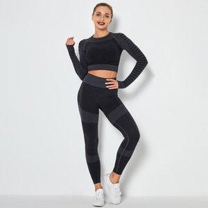 Abiti da yoga ZCXQM Set Donne Simuotate Gym Vestiti Abbigliamento sportivo Sport Sport Vestito a maniche lunghe Crop Top High Waist Leggings Fitness Set