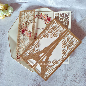 Rose Gold Tower Glitter Laser Cut Flower Personalized Print Wedding Invitation with Belly Belt DIY Sweet 15 Quinceanera Cards