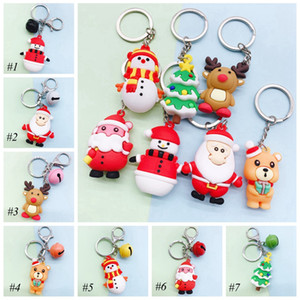 Santa Keychain Elk Christmas Tree Silicone Doll Car Pendant Christmas Advertising Campaign Cute Creative Gift EEA2048