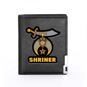 Classic Masonic Shriner Printing Mens Wallet Leather Purse For Men Credit Card Holder Short Male Slim Coin Money Bags