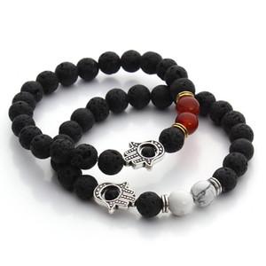 8mm Nature Black Lava Beaded Bracelet Energy Stone Bracelet Hamsa Hand Bangle Charm Yoga Mala Bracelets