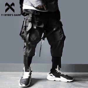 11 Bybb Karanlık Kurdeleler Çoklu Kargo Harajuku Casual Parça Pantolon Hip Hop Streetwear Techwear Pantolon Koşucular Erkekler Cepler