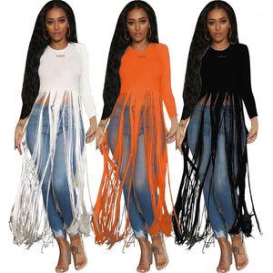 Tassels Womens Designer Luxury T-shirts Fashion Long Sleeve Crew Neck Tops Designer Female Autumn New Loose Casual Tshirts