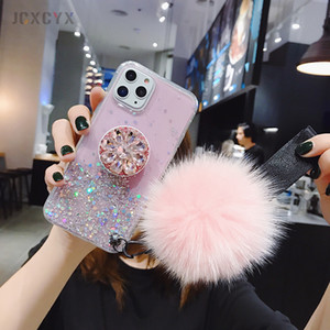 3D Diamond Holder stand Glitter Hairball soft phone case for iphone X XR XS 11 Pro Max 6 7 8 plus for samsung S8 S9 S10 Note A50