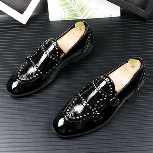 Hot Sale-2020 NEW pointed Toe rivet slip-on gentleman flat shoes for men Male wedding dress prom Homecoming shoes zapatos de novio