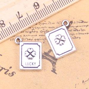 38pcs Bijoux Charms Charms Lucky Clover Book 15x13x3mm Pendentifs Plaqué Argent Antique Faire bricolage bijoux tibétain à la main à la main