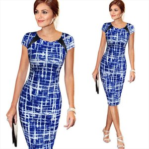 Hot Women Elegant Dresses Bodycon Office Formal Business Work Party Sheath Tunic Pencil Midi O neck Short Sleeves Dress
