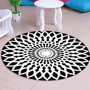 Mantas 3d espacio redondo alfombra negra blanco blanco antideslizante área alfombra del piso no tejido magnífico para vivir la sala de dormitorio de la habitación