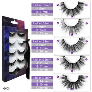 Best Seller G603 High Quality 3D Mink Eyelashes 5 pairs of Mink Lashes Makeup Mixed False Eyelashes