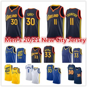Men's 2021 New Blue Stephen 30 Jersey Curry Klay 11 Thompson 33 James Wiseman Andrew 22 Wiggins City Black Edition Jerseys de basketball