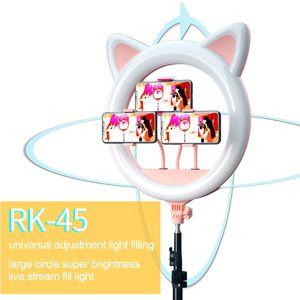 20 pouces LED Selfie Bague Cat Cat Ear Cat Dimmable Niveau 10 Éclairage de la photographie pour maquillage Vidéo YouTube Tattoo Téléphone Studio Lumière