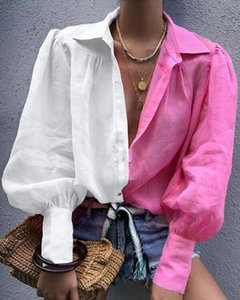 2020 New Arrival Street Wear Blouse Solid Turn down Collar Soft Material Tunic Tops Drop Shipping Good Quality