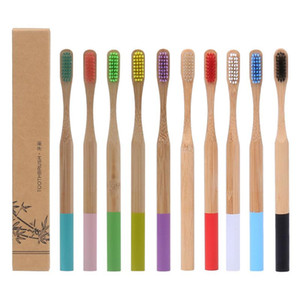 12 Colors Natural Bamboo Toothbrush Wood Toothbrush Bamboo Soft Bristles Natural Eco Bamboo Fibre Wooden Handle Toothbrush For Adults